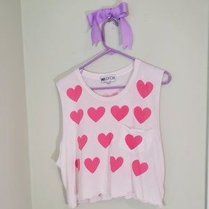 Pink crop top with heart print